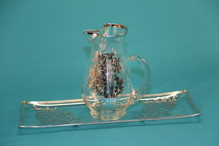 Crystal with Sterling silver overlay pitcher and tray