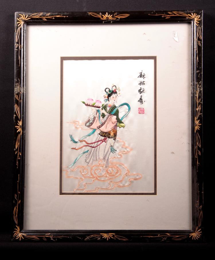 Vintage Japanese Silk Embroidery Of A Girl.