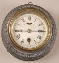 Antique Metal Case Ships Wall Clock