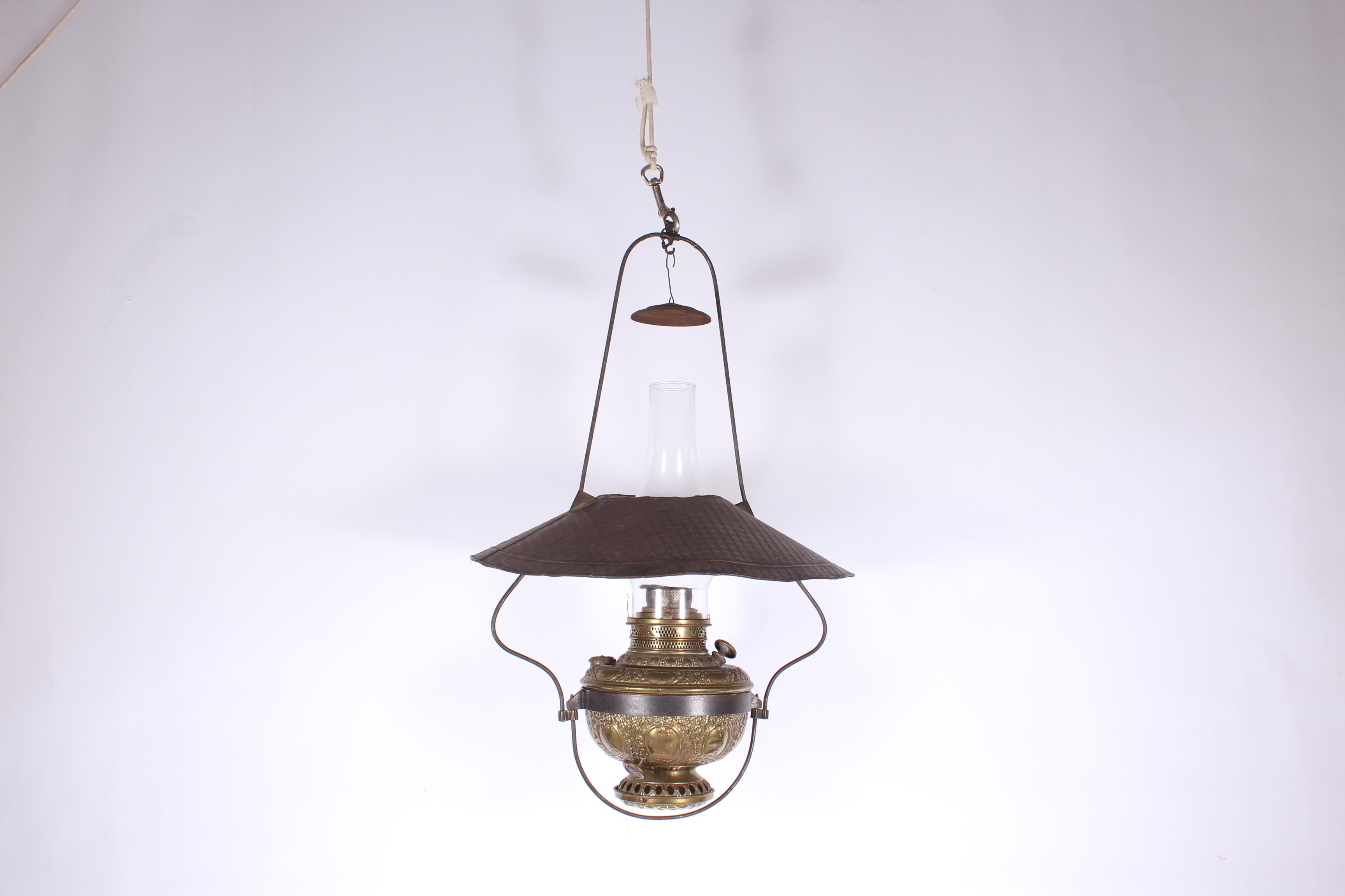 Lot Antique Brass Hanging Oil Lamp New Rochester