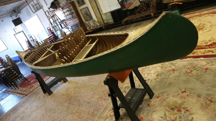 Vintage Old Town Canoe Canvas and wood all original 16 feet