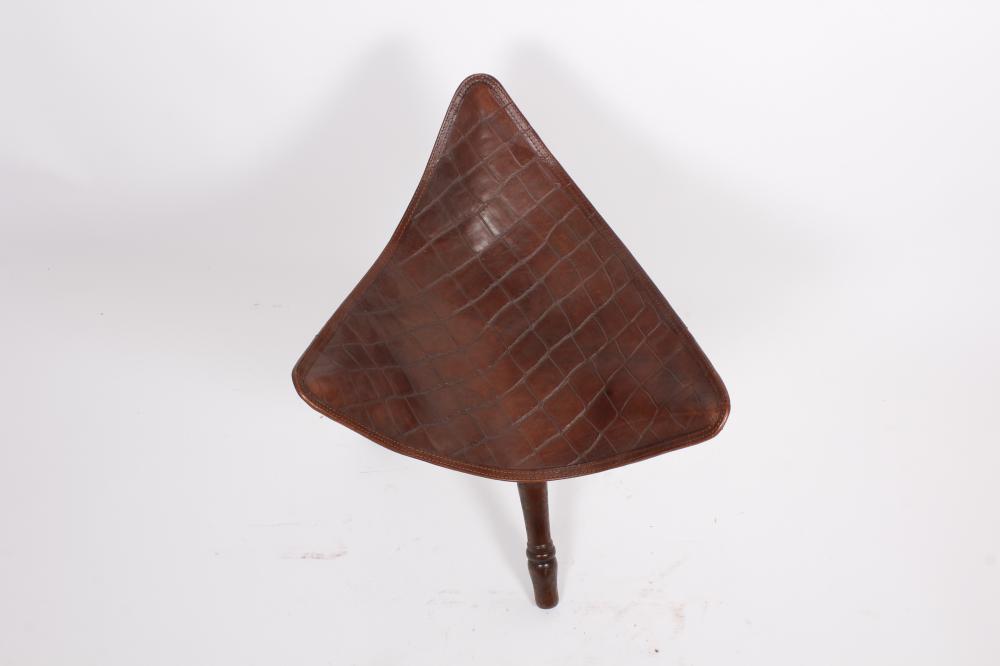 Stiles Brothers Leather Safari Folding Stool