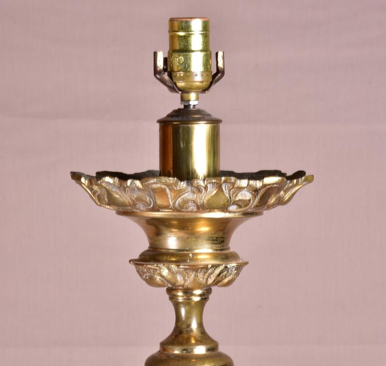 Vtg Brass Floor Lamp: Pair Of Solid Brass Floor Lamps