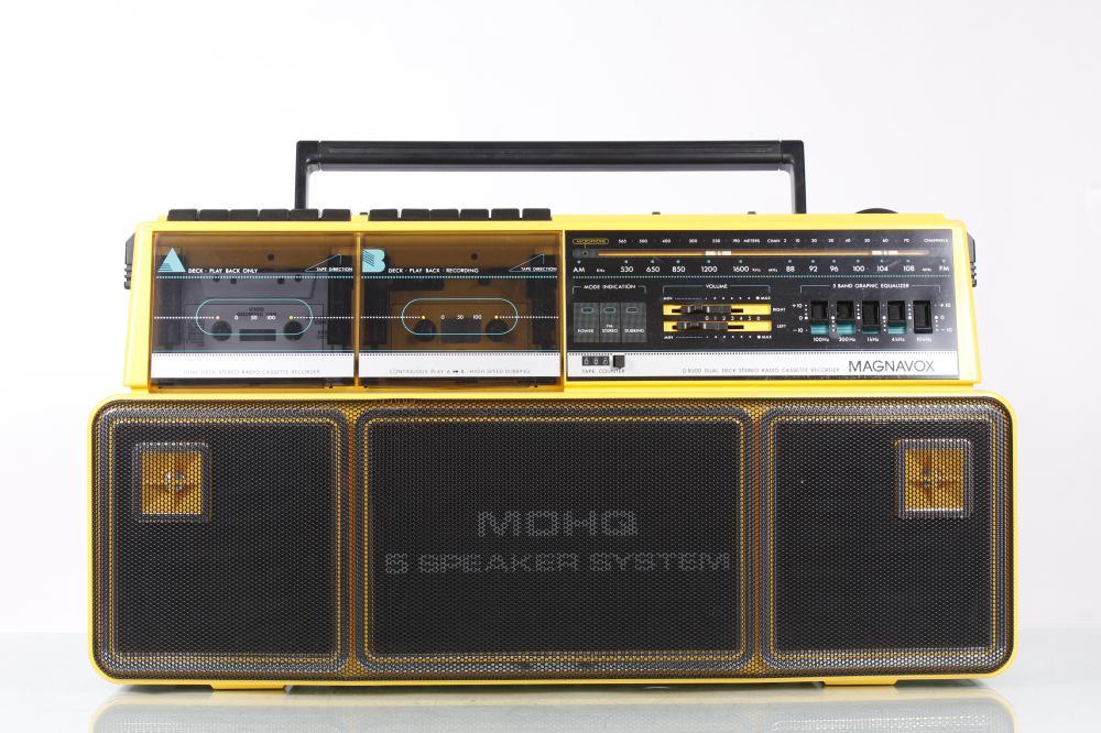 Vintage Magnavox D8300 Boombox Radio Dual Cassette Recorder MDHQ