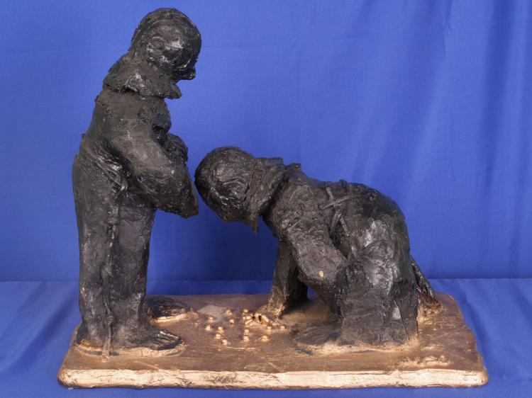 TWO MUNKS PLAYING MARBLES BY FRANK WYSO BASE HAS BEEN ALTERED