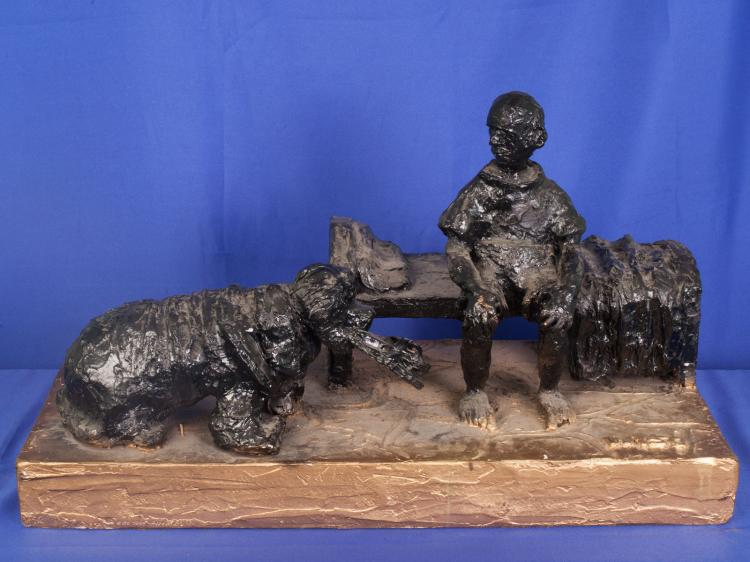 COAL MINER WITH DOG ORIGINAL FRANK WYSO SCULPTURE  BASE HAS BEEN ALTERED