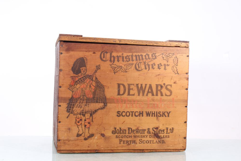 Dewar's Scotch Whiskey White Label Christmas Cheer Wooden Crate