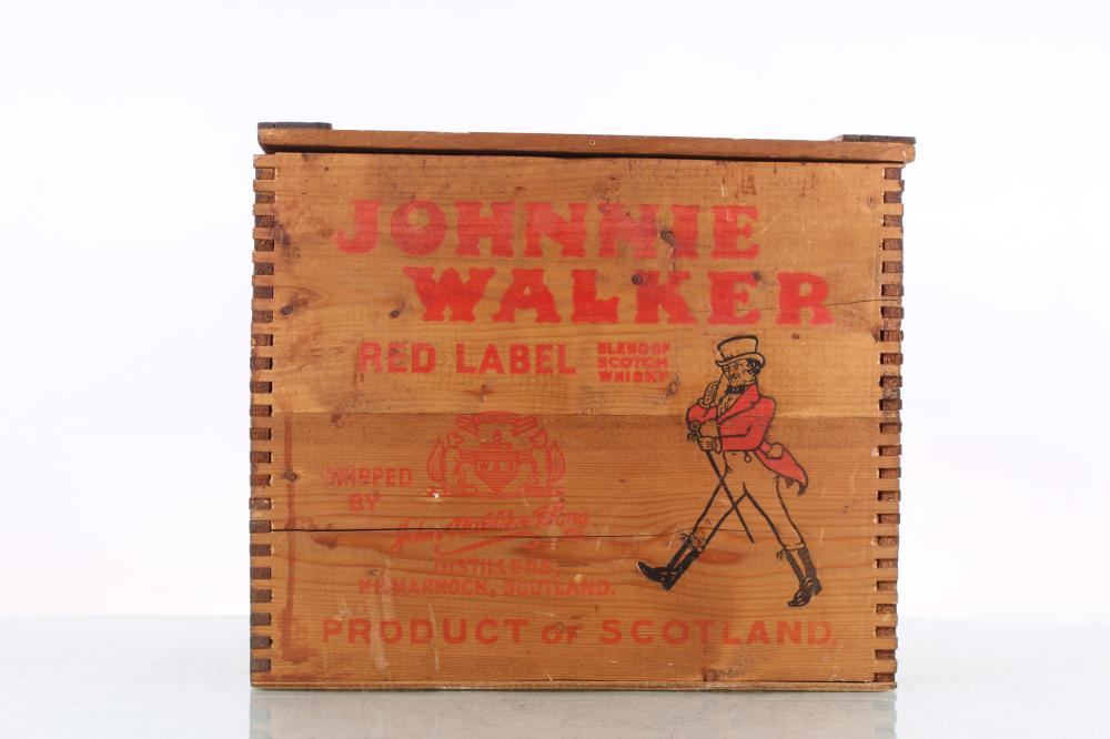 Johnny Walker Red Label Scotch Whiskey Wooden Crate