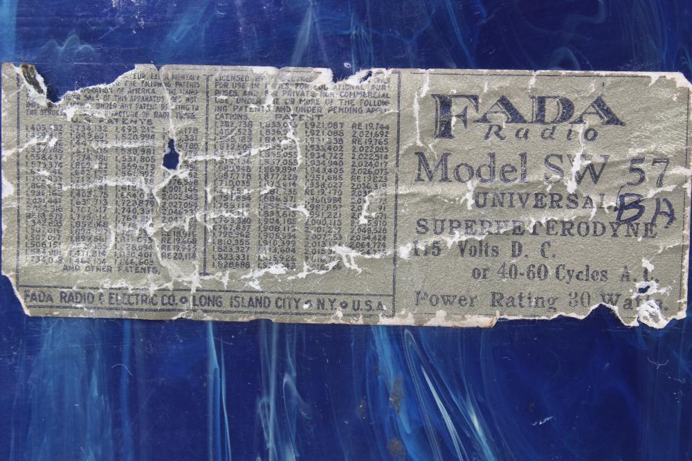 FADA SW-57 Radio Marbleized Green Bakelite Case with Yellow Grill