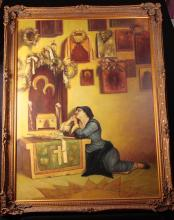 Large Oil Painting of a Praying Woman