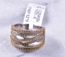 18K Gold over Sterling, Ring with Simulated Diamonds