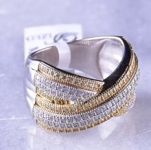 18K Gold over Sterling, Ring with Canary and White Simulated Diamonds