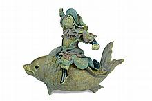 19th C Chinese Roof Tile Immortal Riding a Fish