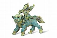19th C Chinese Roof Tile Immortal Riding on Foo Dog