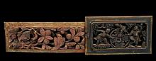 PAIR Asian Carved Wooden Temple Fragment Lot #1