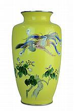 Vintage Japanese Silver Cloisonne Bird Vase #2