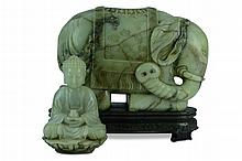 Carved Chinese Jade Elephant & Buddha Vessel