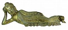 Tibetan Gilt Carved Wood Reclining Buddha Figure