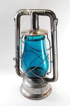 Antique Dietz Monarch Oil Lamp Lantern Turquoise Globe