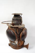 Antique Handlan CCC&StL Railroad 4 Way Switch Lantern