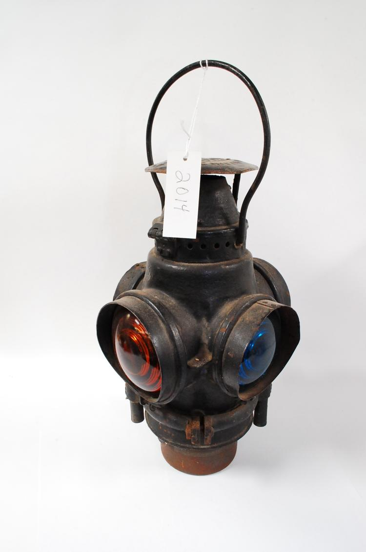 Antique Adlake Santa Fe Railroad 4 Way Switch Lantern