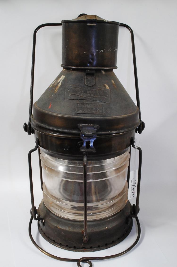 Antique Large Brass Meteorite Ships Signal Lantern