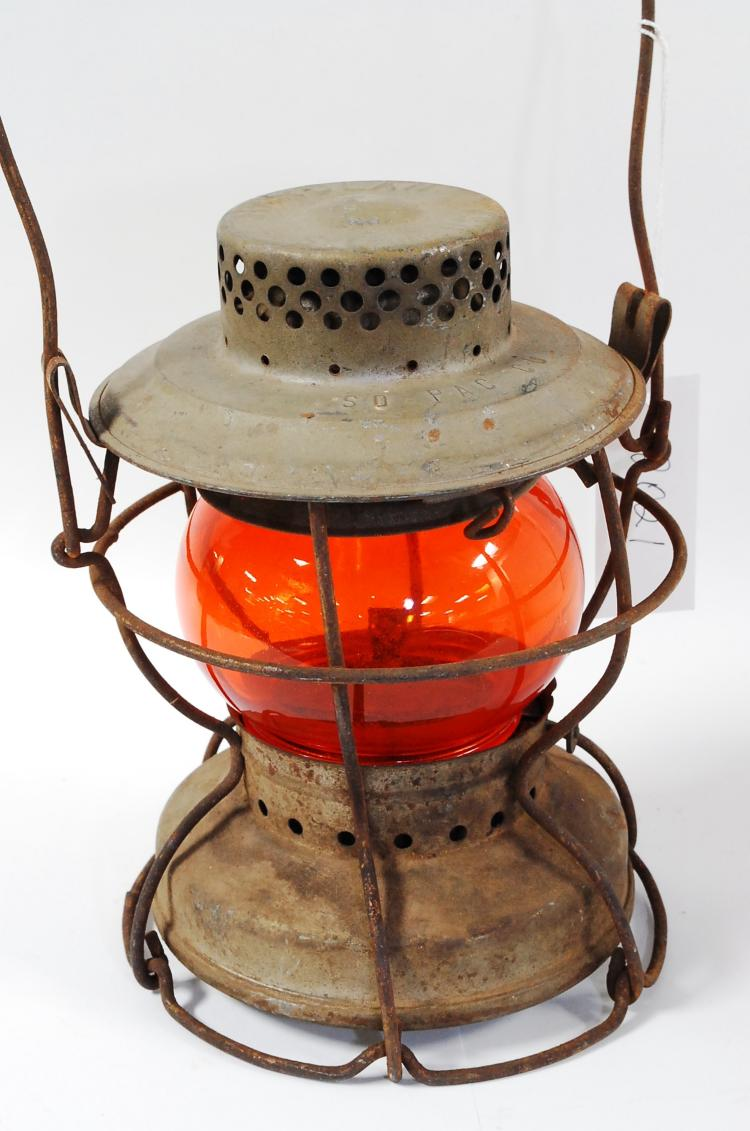 Antique Handlan So Pac Co Railroad Amber/Orange Globe Lantern