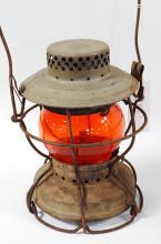 Antique Handlan So Pac Co Railroad Amber/Orange Globe Lantern