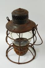 1909 Prr Embossed Globe Pennsylvania Lines Adlake Adams Westlake Railroad Lantern