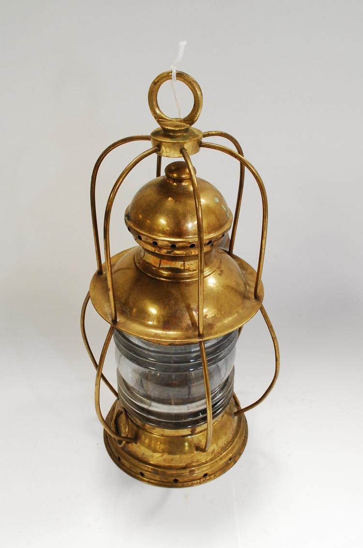 Antique Brass Ships Anchor Oil Lamp Lantern With Wedge Burner
