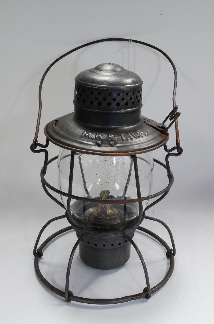 Antique Handlan MK&T Railroad Lantern With Original Tall Globe