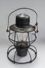 Antique Handlan MK&T Railroad Lantern With Original Tall Globe