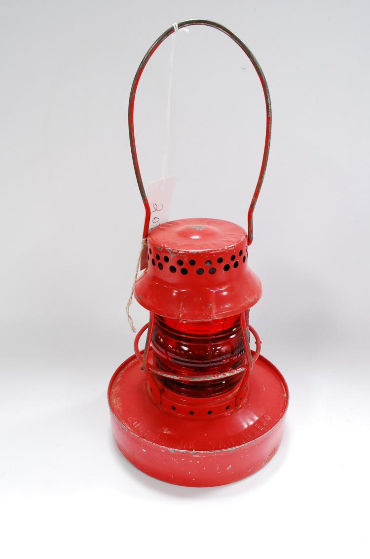 Antique Handlan County Of San Diego Number 57 Red Globe Oil Lantern