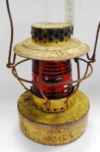 Antique Handlan Prop Of So Calif Gas Co Yellow Red Globe Kerosene Lantern
