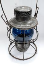 1923 ICRR Illinois Central Railroad Lantern With Tall Blue Acid Etched Globe