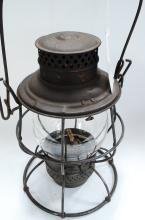 Antique Keystone Pennsylvania System & Railroad Embossed Globe Lantern