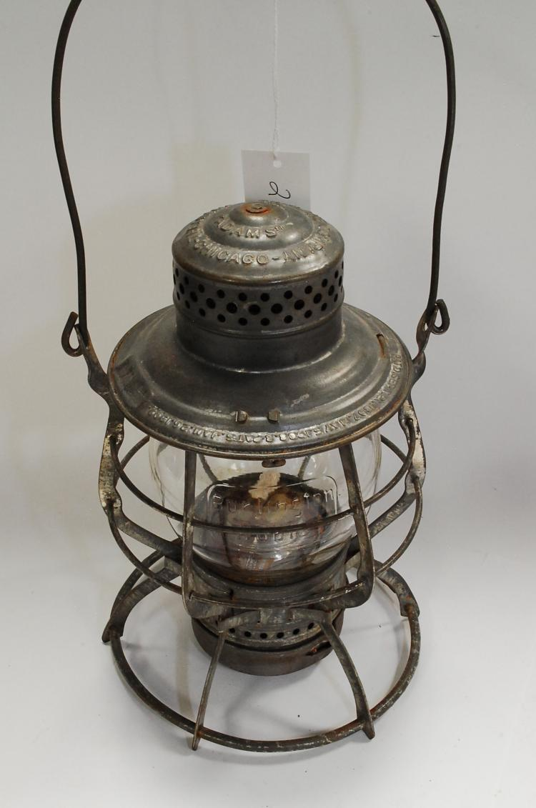 Antique Burlington Route Embossed Tall Globe Railroad Lantern