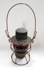 Antique Cmstp&Prr Railroad Lantern Matching Acid Etched Red Globe