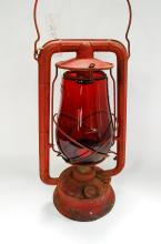 Antique Red Monarch Dietz Lantern With Dietz Fits All Red Embossed Globe