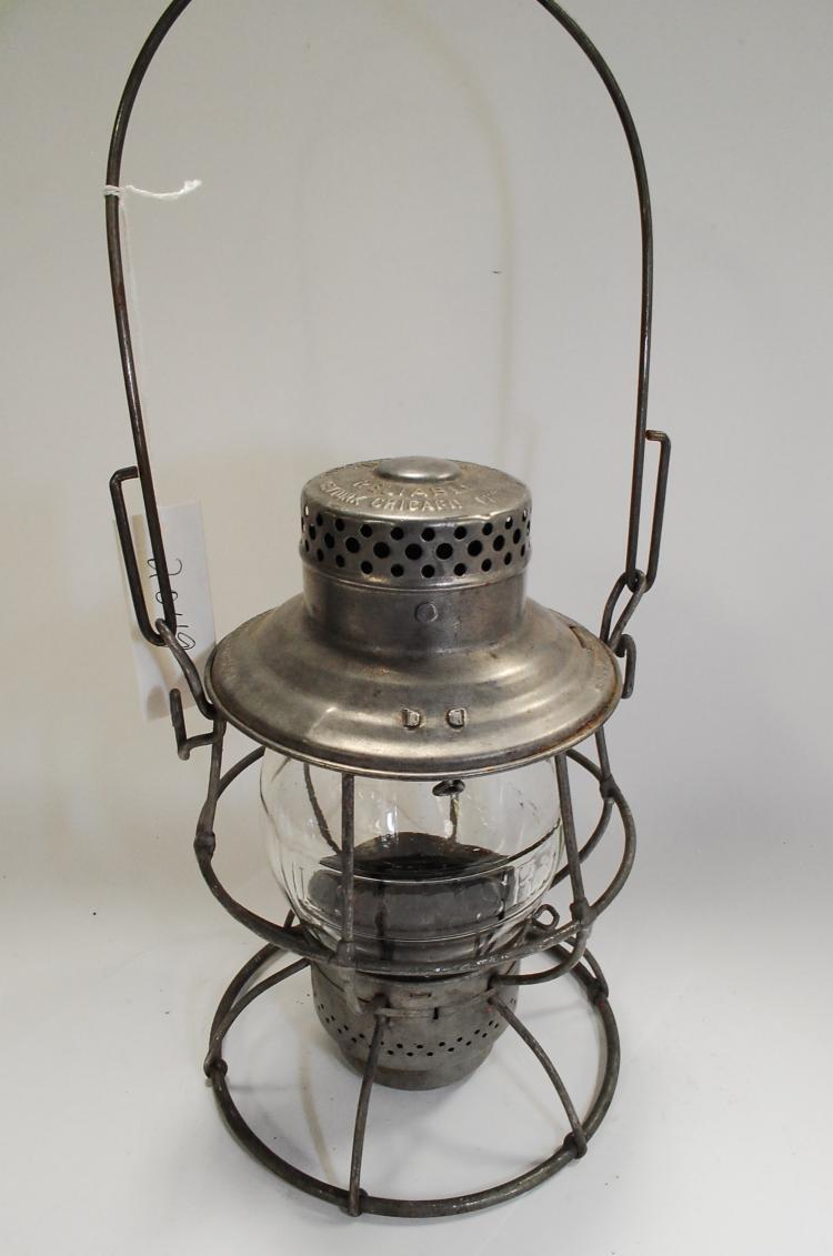 1912 Adams & Westlake Adlake LS&MSRy Railroad Lantern Embossed Matching Tall Globe