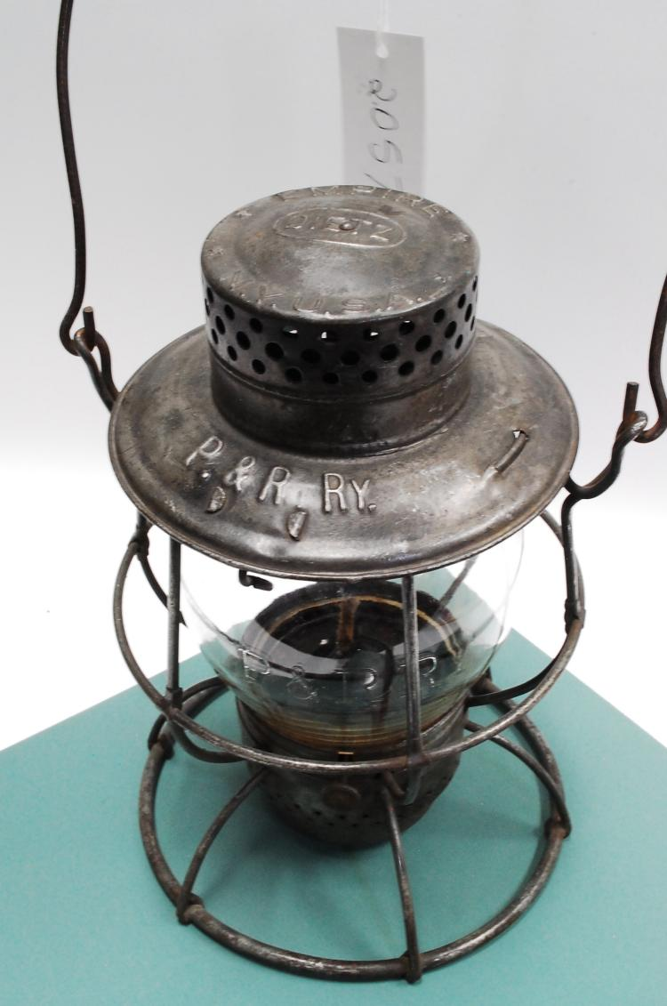 Antique Dietz Empire Loco Dept P&R Ry Railroad Lantern With Matching Tall Embossed Globe