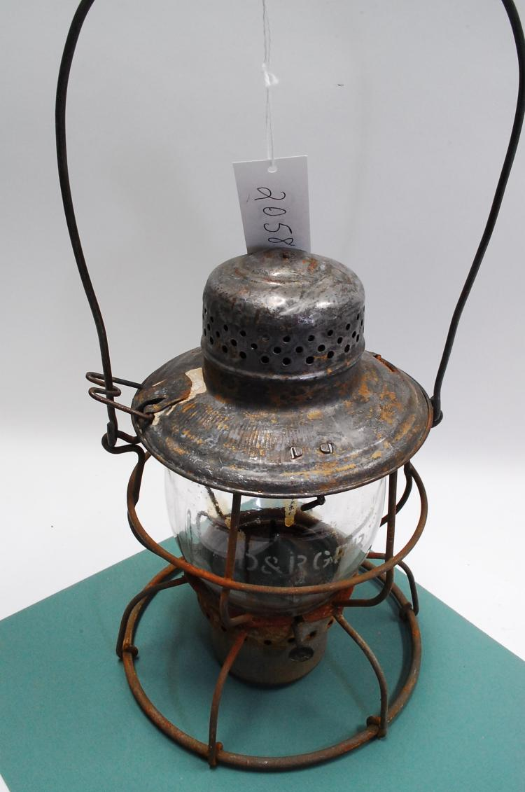Antique Handlan D&RGRR Railroad Lantern With Matching Acid Etched Melon Globe