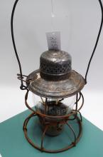Antique Handlan D&RGRR Railroad Lantern With Matching Acid Etched Melon Globe