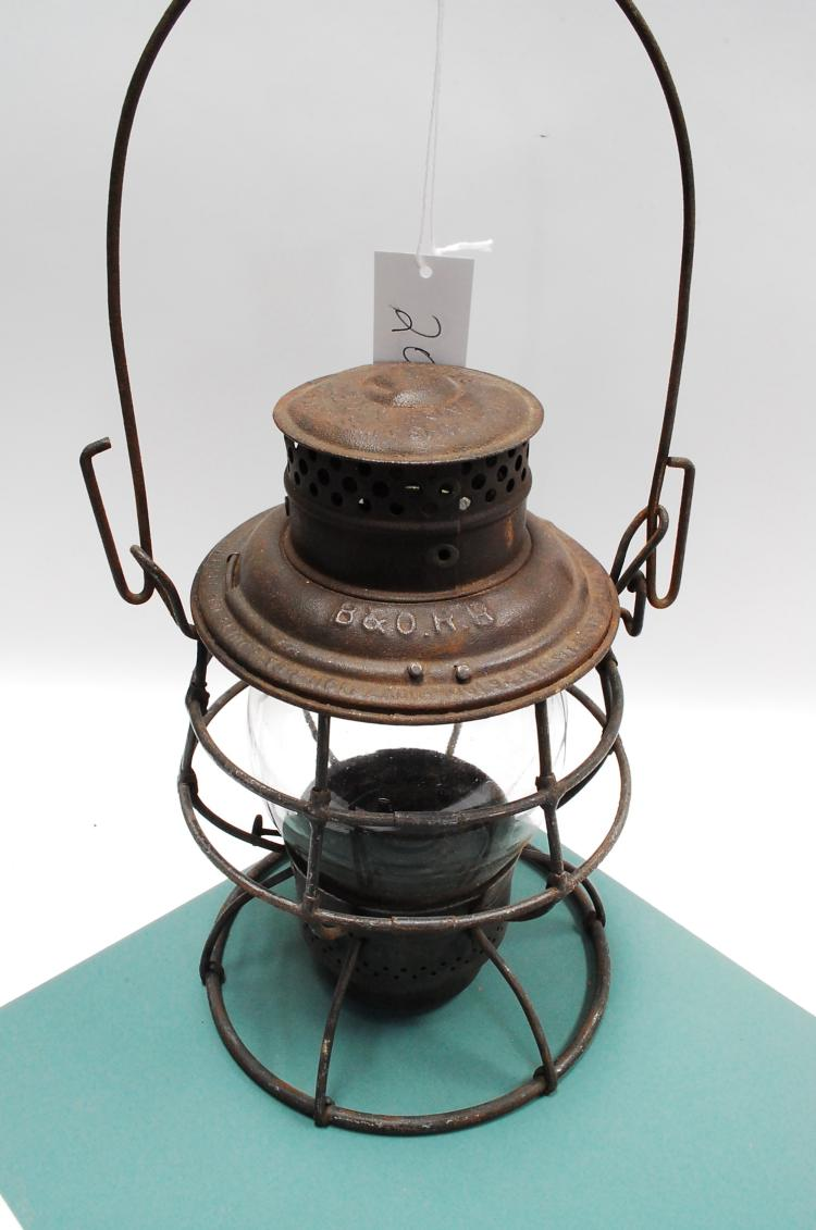 1913 Adams Westlake Adlake B&O RR Railroad Lantern Tall Embossed Safety First Matching Globe