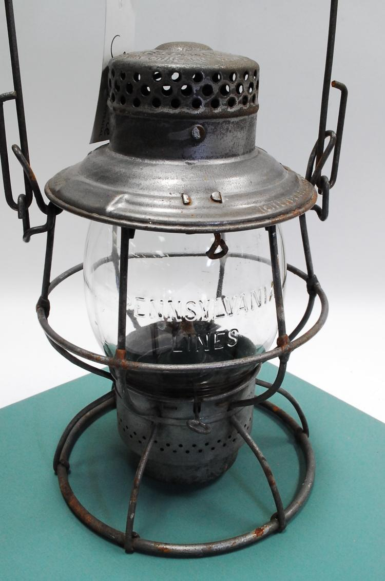 1912 Adlake Pennsylvania Lines Tall Embossed Matching Globe Railroad Lantern