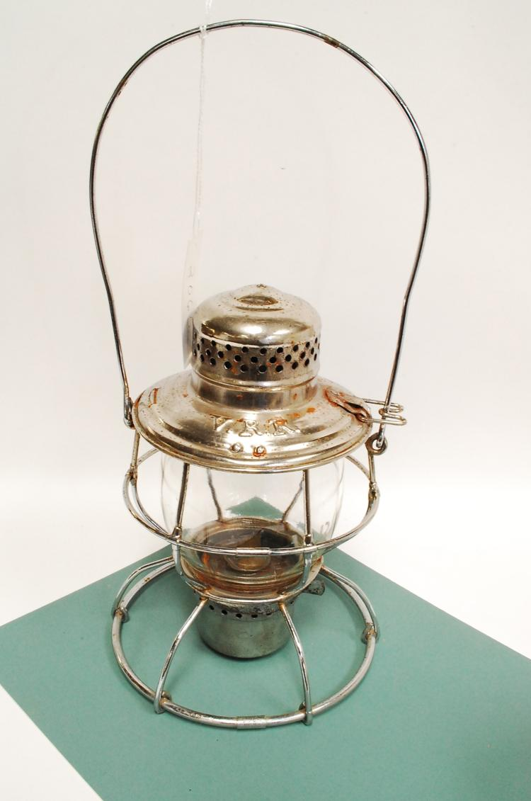 Antique Chrome VRR Railroad Lantern With Tall Melon Acid Etched Matching Globe