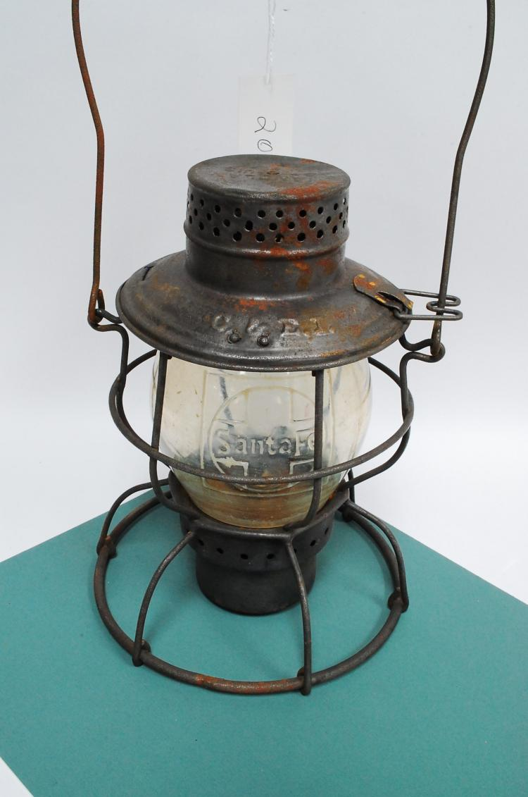 Antique Handlan C&EI Santa Fe Symbol Embossed On Globe Railroad Lantern