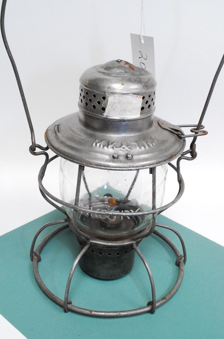 Antique Handlan MK&T Railroad Lantern With Matching Acid Etched Melon Globe
