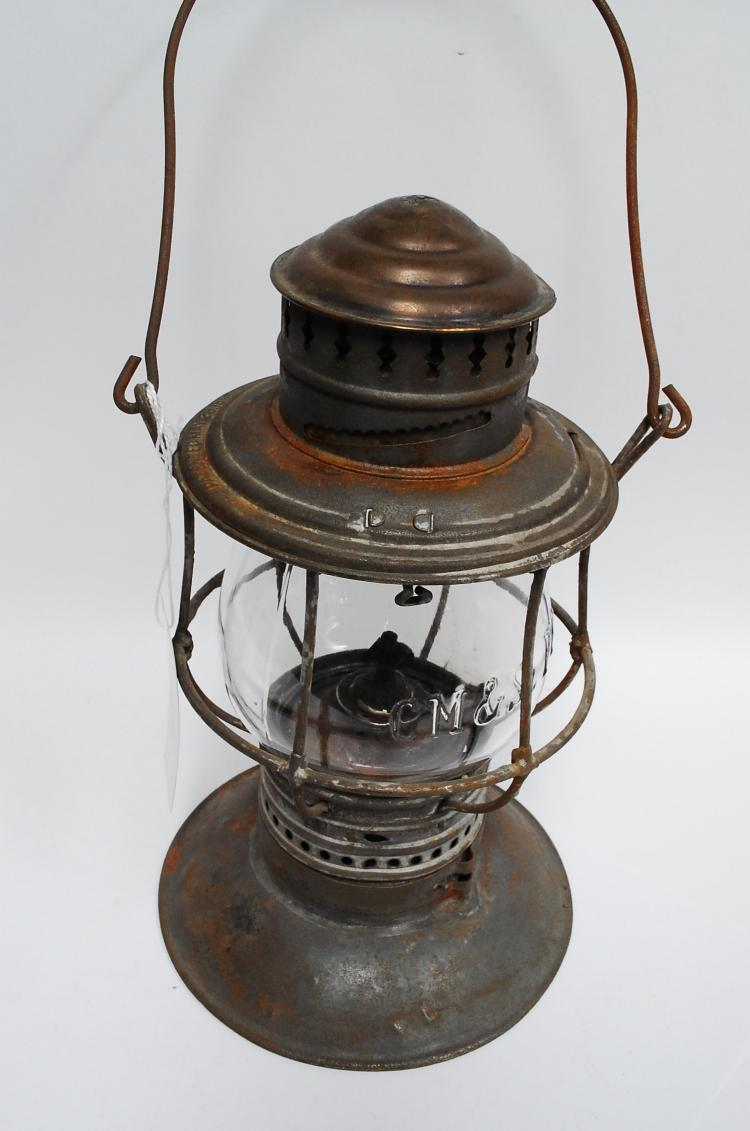 1895 CM&STPRy Bell Bottom Railroad Lantern With Embossed Matching Globe