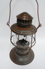 1895 CM&STPRy Bell Bottom Railroad Lantern With Embossed Matching Globe